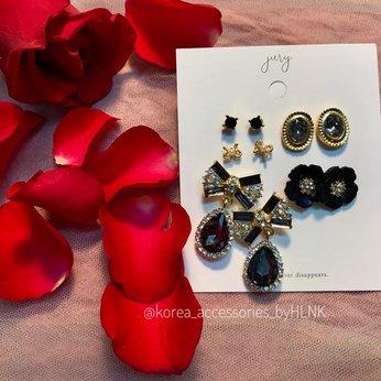 Bộ bông tai Black Ribbon Earring Set