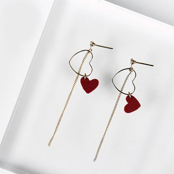 Silver Leather Mini Heart Drop Earring