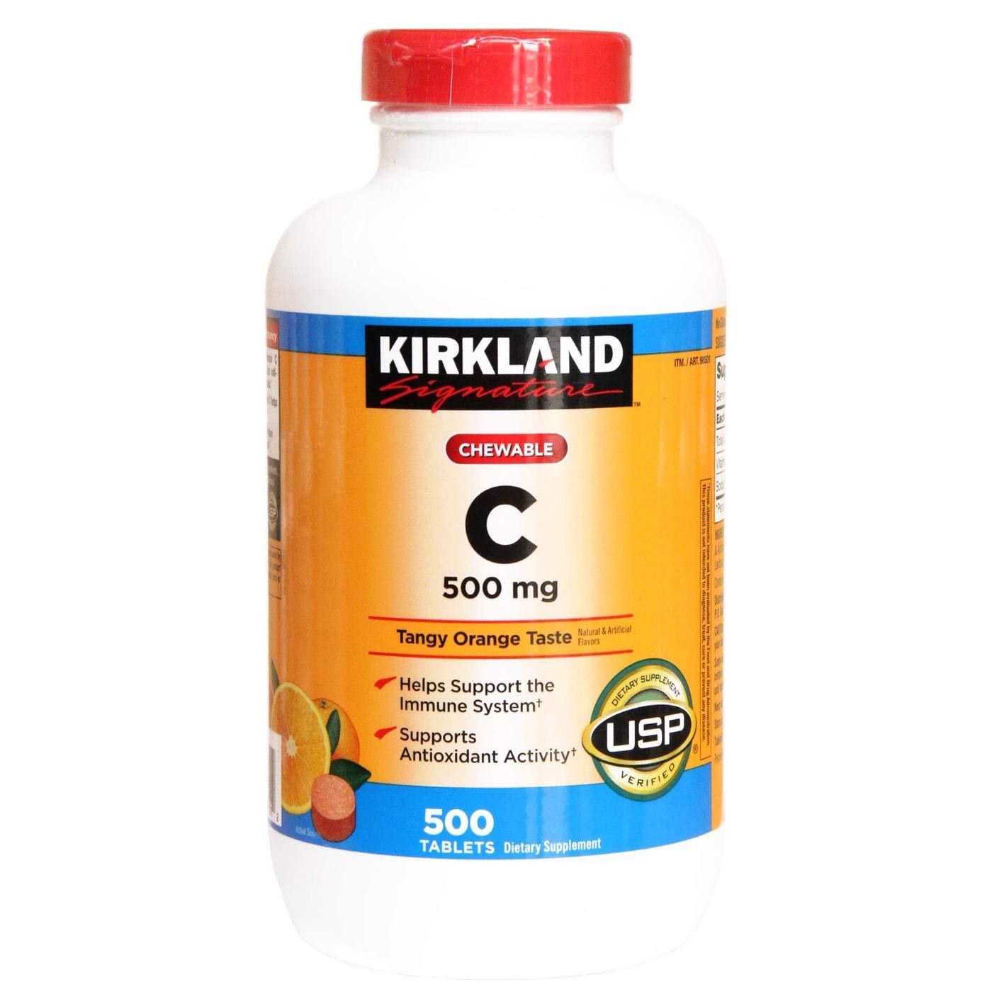 Viên ngậm đẹp da và đẩy xa độc tốVitamin C 500mg Kirkland Signatuare 500 viên