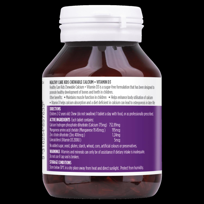 Viên nhai Healthy Care Kids Calcium + Vitamin D3 60 Chewable Tablets