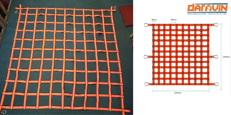 Ảnh thực tế sản phẩm và bản vẽ kỹ thuật lưới chắn container dây polyester mắt 30cm