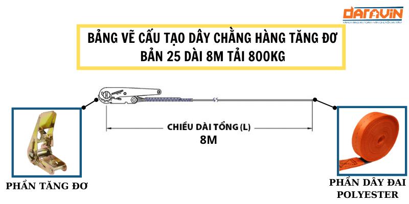 Bảng vẽ cấu tạo dây chằng hàng tăng đơ bản 25 dài 8m tải 800kg của daravin