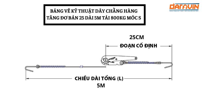 Bảng vẽ kỹ thuật dây chằng hàng tăng đơ bản 25 dài 5m tải 800kg móc S