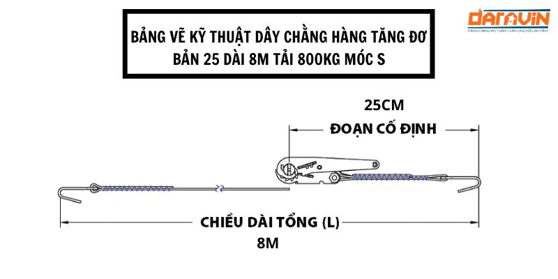 Bảng vẽ kỹ thuật dây chằng hàng tăng đơ bản 25 dài 8m tải 800kg móc S
