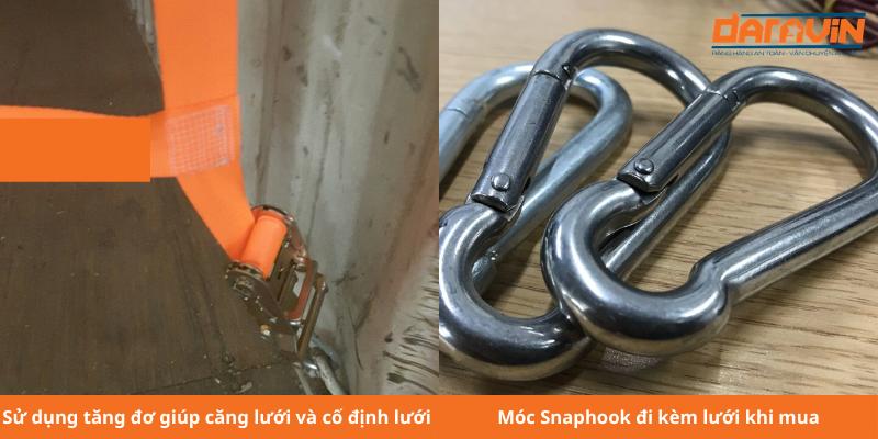 Các loại phụ kiện đi kèm lưới chắn container dây polyester mắt 30cm