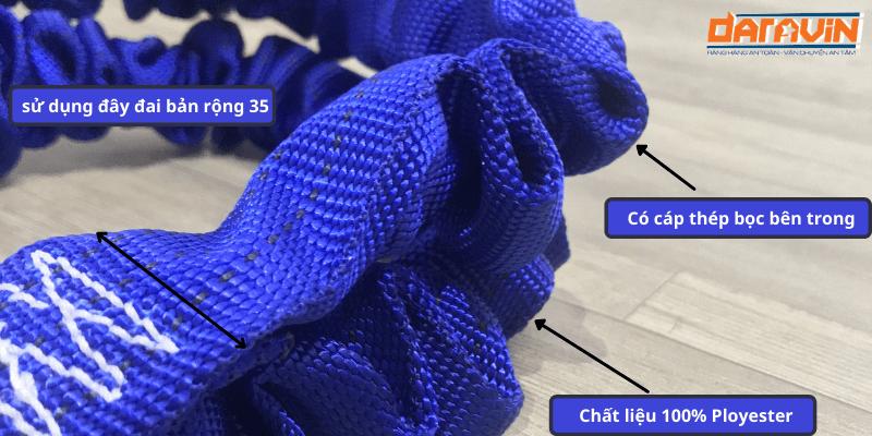 Cấu tạo và chất liệu được sử dụng trên dây cáp vải kéo cứu hộ ô tô tải trọng 3 tấn