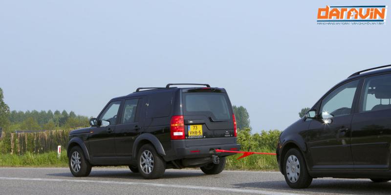 Hình thực tế sử dụng dây cáp vải kéo cứu hộ ô tô tải trọng 3 tấn