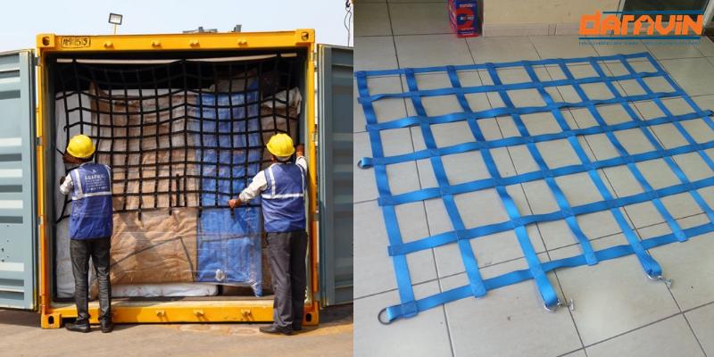 Hình thực tế sử dụng lưới chắn container dây polyester mắt 30cm