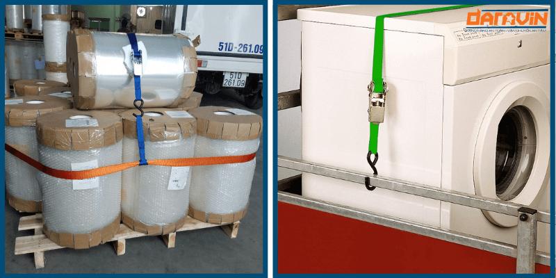 Ràng các loại hàng hóa trong công nghiệp bằng dây chằng hàng tăng đơ bản 25 dài 5m tải 800kg móc S