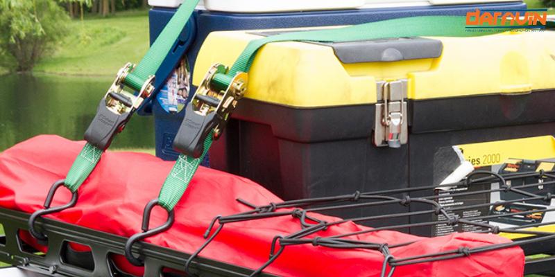 ràng các loại phụ kiện hành lý lên nóc xe bán tải bằng dây chằng hàng tăng đơ bản 25 dài 8m tải 800kg móc s