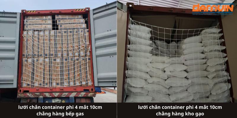 Ứng dụng thực tế của lưới chắn container phi 4 mắt 10cm