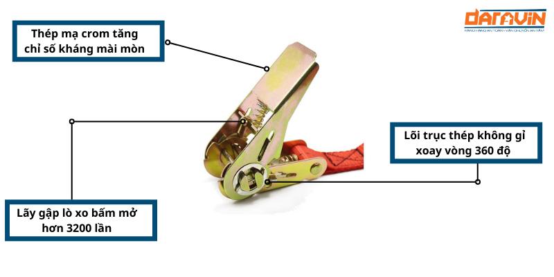Ưu điểm và cấu tạo của linh kiện tăng đơ sản xuất dây chằng hàng tăng đơ bản 25 dài 3m tải 800kg
