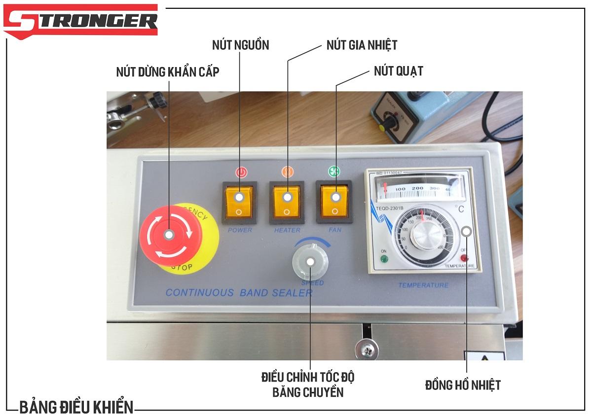 Bảng điều khiển máy hàn miệng túi liên tục Stronger FRD-750-VSvỏ sơn tĩnh điện