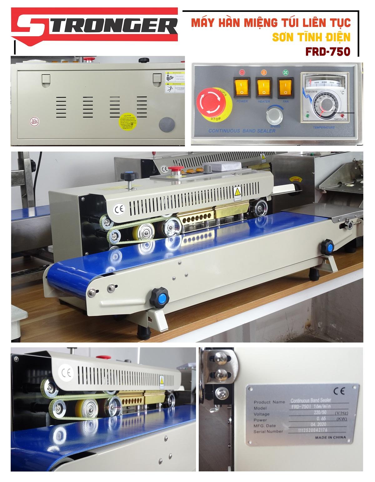Chi tiết máy hàn miệng túi liên tục Stronger FRD-750-VSvỏ sơn tĩnh điện