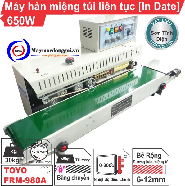 Máy hàn miệng túi liên tục FRM-980A có Indate loại mới, giá rẻ