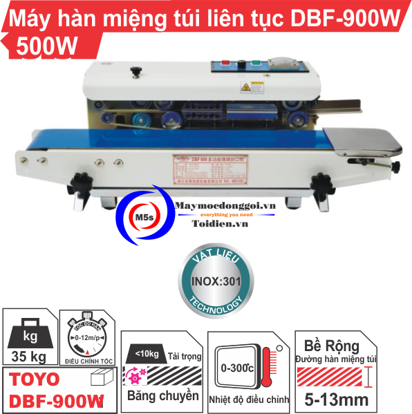 Máy hàn miệng túi liên tục DBF-900W 500W