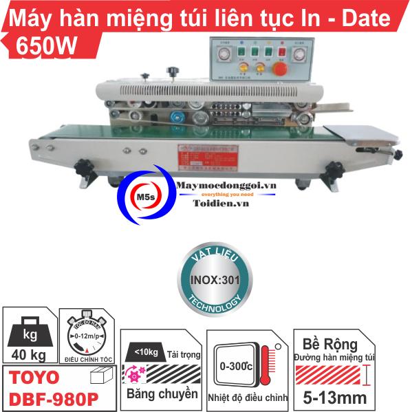 MÁY HÀN MIỆNG TÚI LIÊN TỤC IN-DATE DBF-980P 650W