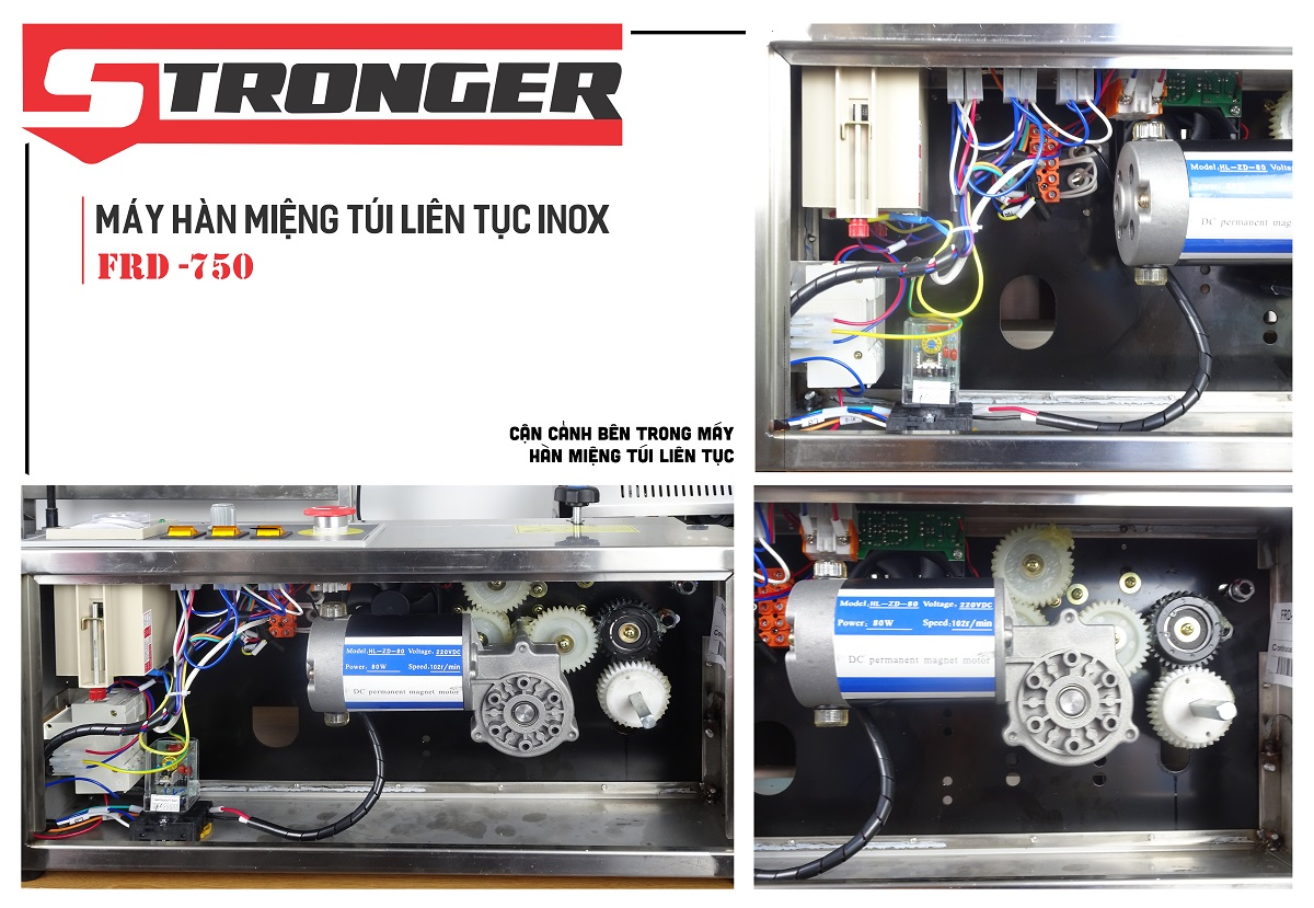 Motor máy hàn miệng túi liên tục Stronger FRD-750I-II dạng đứng
