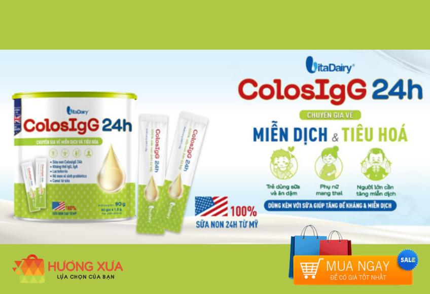Sữa non ColosIgG 24h Hộp 90g (60 gói x 1.5g) - Hương Xưa Shop