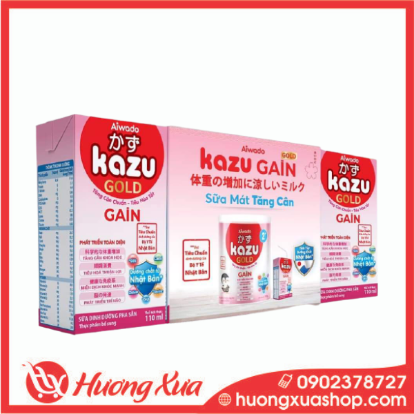 Sữa Dinh Dưỡng Pha Sẵn Kazu Gain Gold Hộp 110ml