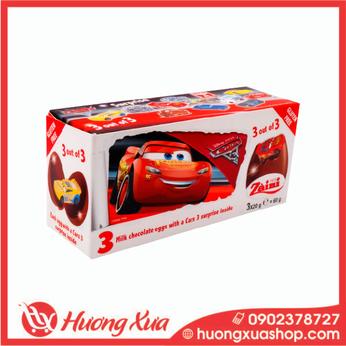 Kẹo Trứng socola đồ chơi Zaini Cars hộp 60gr (3 trứng)