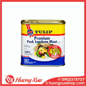 Thịt hộp Tulip Pork Luncheon Meat 40% Less Sodium 340g