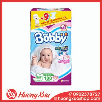 Miếng lót sơ sinh Bobby NewBorn1 New 108pcs (Dành cho bé dưới 1 tháng)