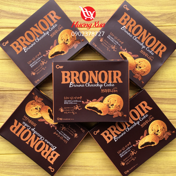 Bánh quy CW Bronoir Brownie Chocochip Cookie hộp 198gr (12 bánh)
