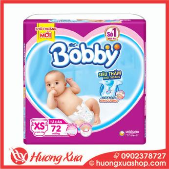 Tã dán Bobby size XS 72 miếng (cho bé <5kg)
