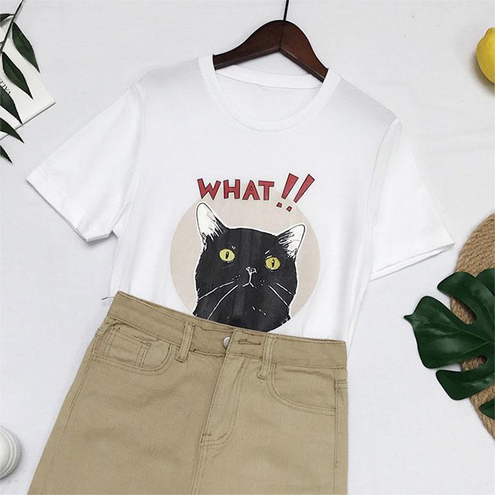 Áo Thun Nữ In Hình Con Mèo Chữ WHAT ATN4017