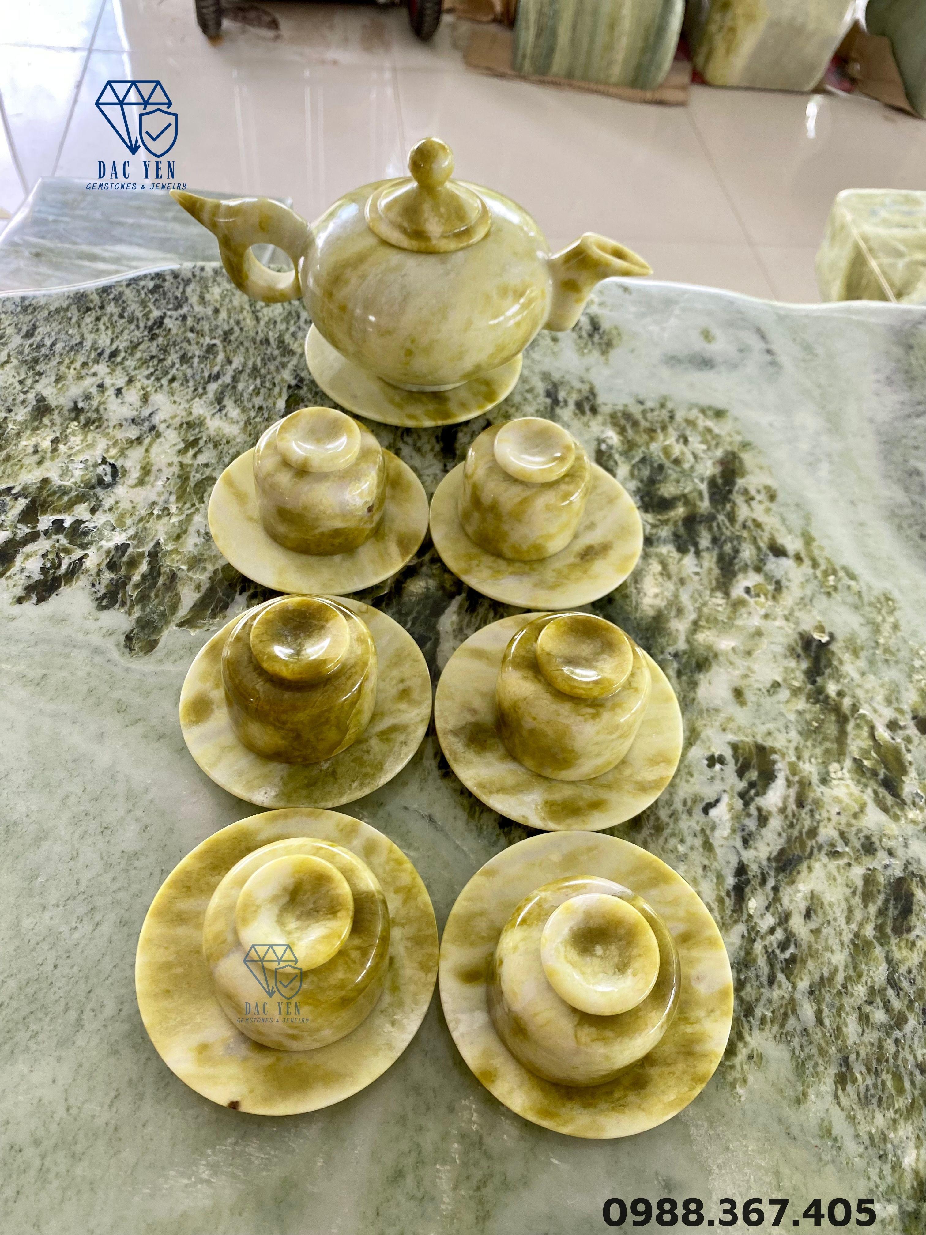 Bộ ấm trà bằng ngọc, bộ ấm chén bằng ngọc, bộ ấm trà đá ngọc tự nhiên