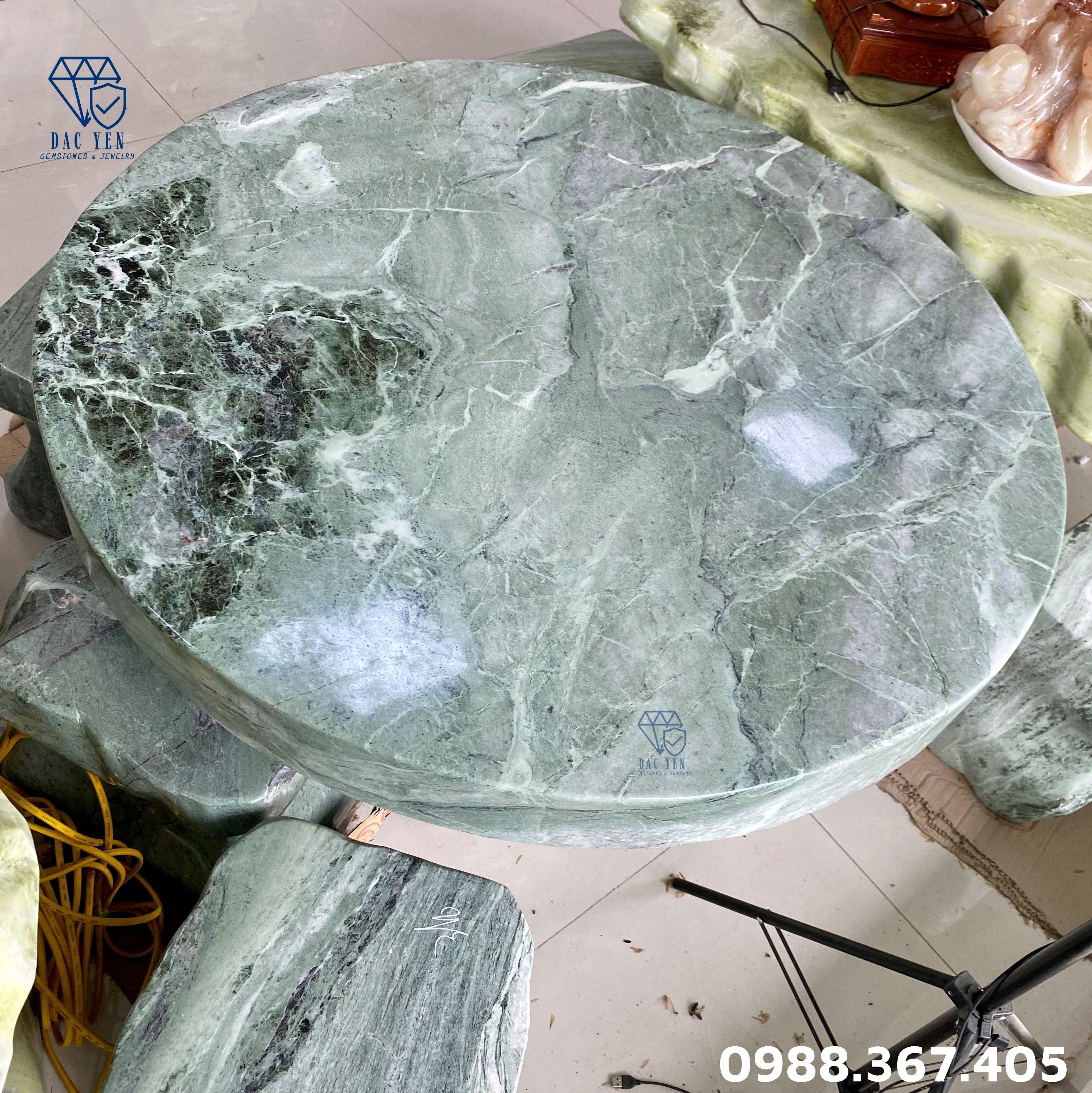 Bàn ghế đá tự nhiên, bàn ghế đá ĐẸP, bàn ghế đá nguyên khối xanh