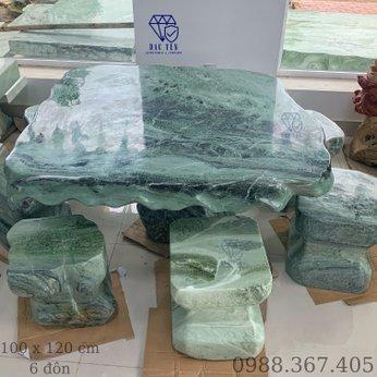 Bàn ghế đá tự nhiên ngọc serpentine - KT 100 x 120 cm