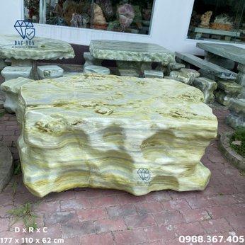 Bàn ghế đá ngọc nguyên khối sân vườn - KT 110 x 177 cm