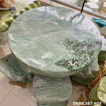 Bàn ghế đá ngọc tự nhiên - KT 114 cm