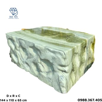 Bàn ghế đá nguyên khối ngọc - KT 110 x 144 cm