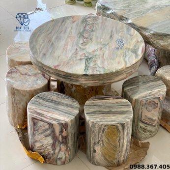 Bàn ghế đá tự nhiên tròn - 70 cm
