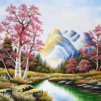 Tranh đá quý phong cảnh hữu tình  01 KT 50 x 70