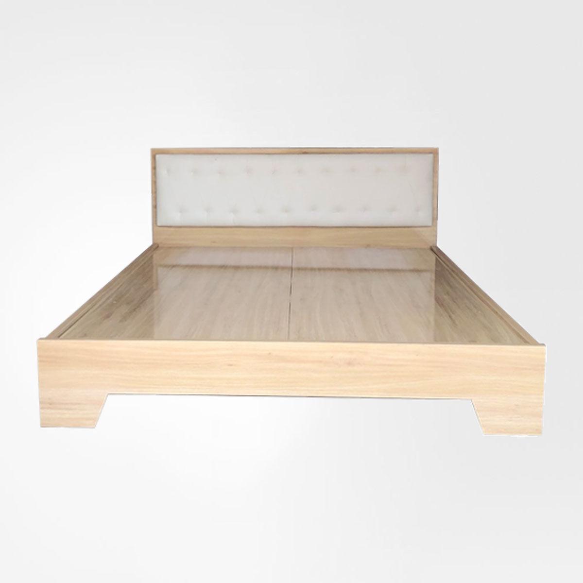 Giường Ngủ Gỗ Chân Cao Đầu Nệm Kem