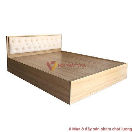 Giường Ngủ Gỗ MDF Phủ Melamine Bọc Nệm Kem Hiện Đại Giá Rẻ