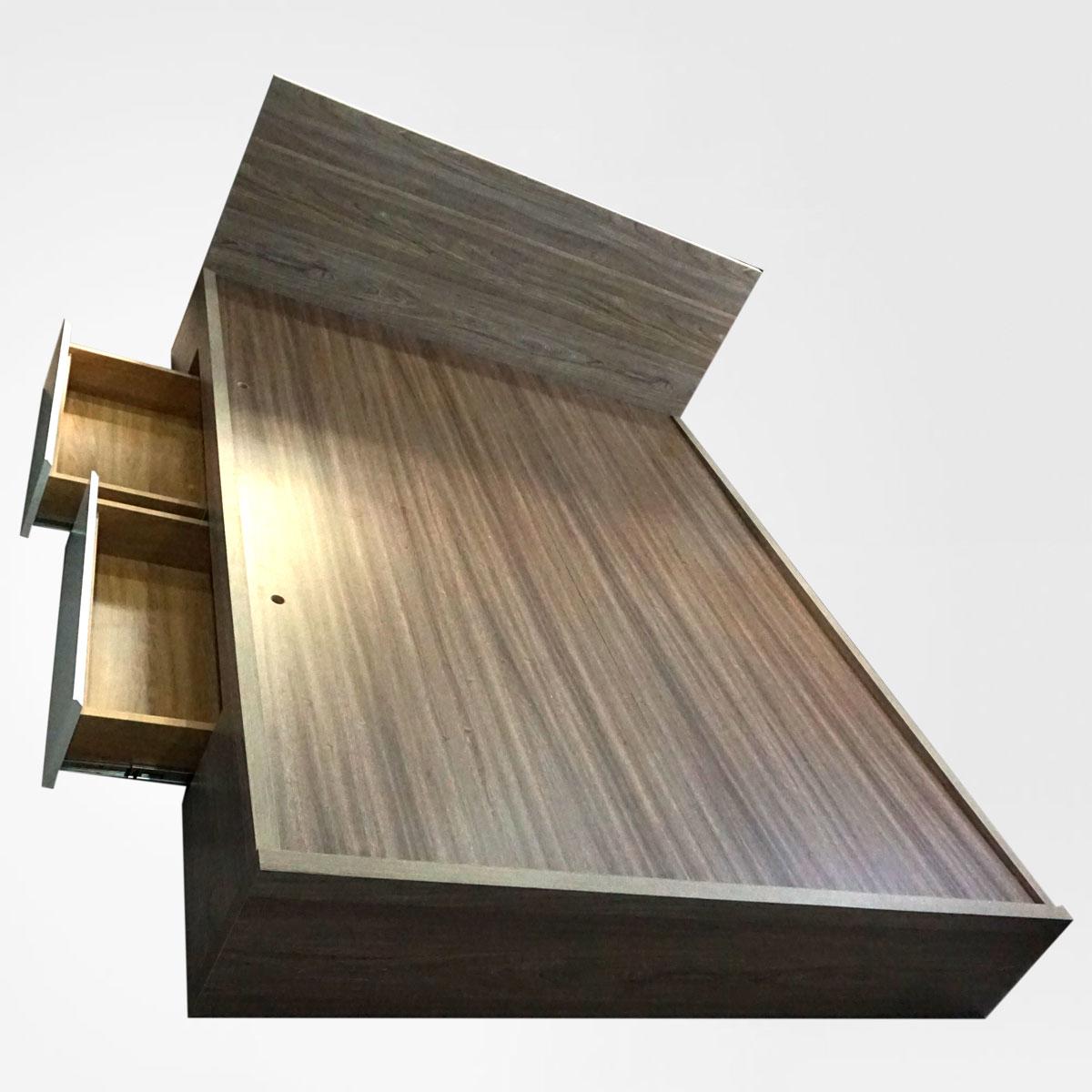 Giường hộc kéo mdf phủ melamine màu xám