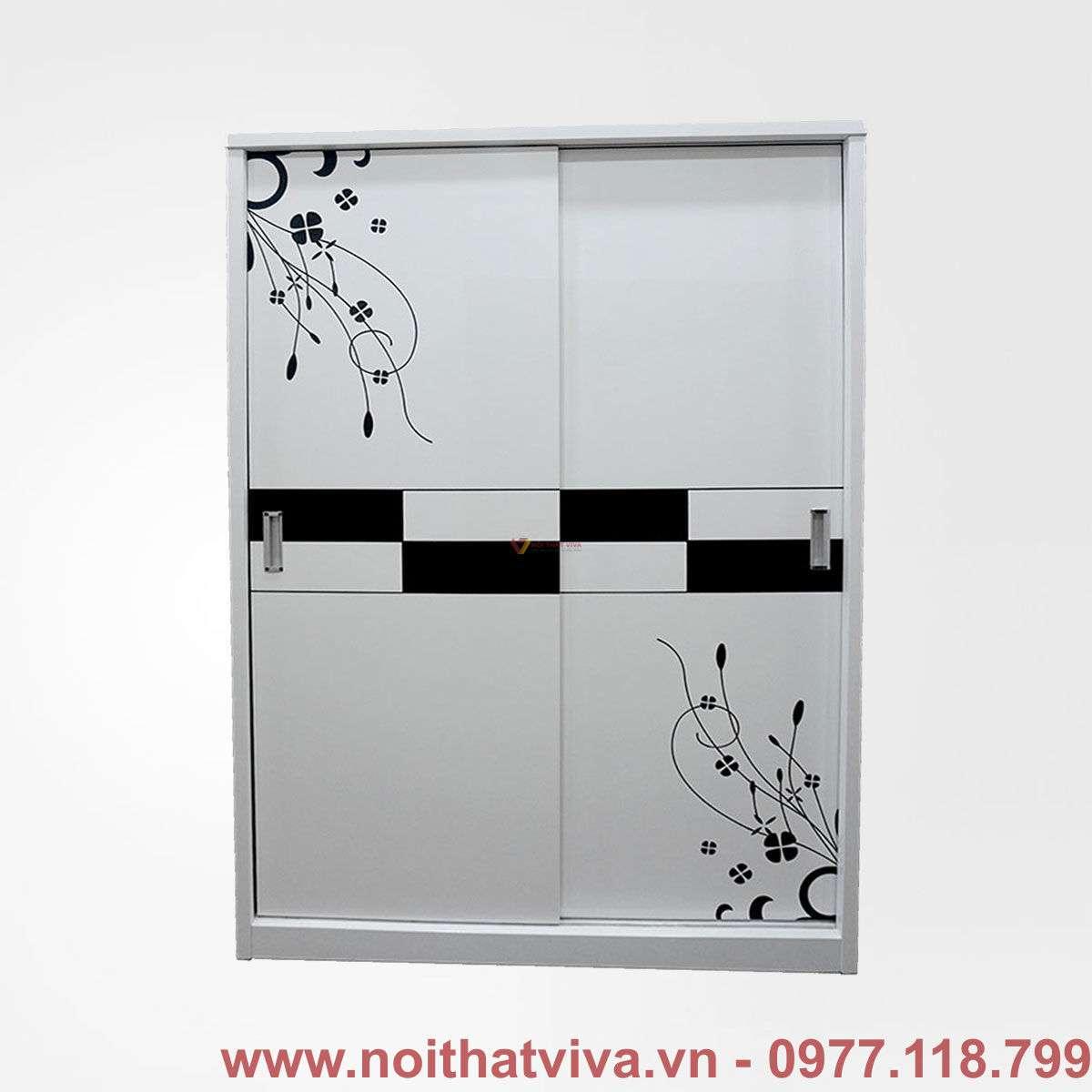 Tủ áo mdf cửa lùa màu trắng hoa văn hiện đại