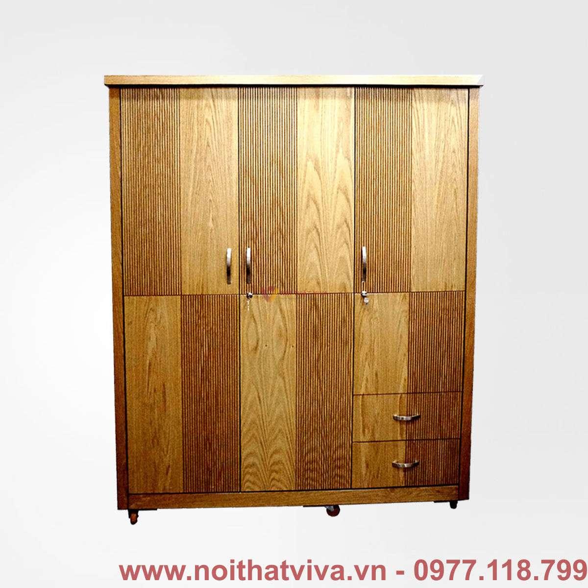 Tủ áo MDF chỉ T21 3 cánh màu gỗ sồi