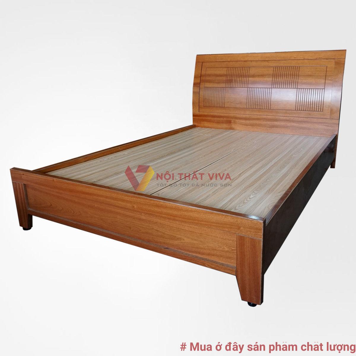 Giường ngủ mdf pano đầu cong