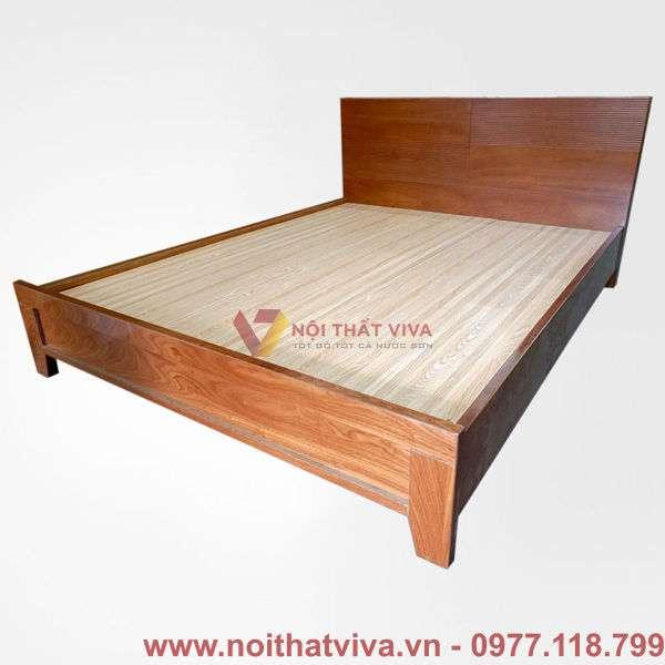 Giường mdf màu sồi đầu cong chân cao