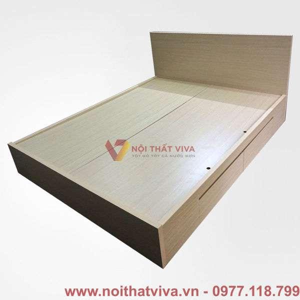 Giường ngủ MDF phủ melamine 2 hộc kéo màu vàng