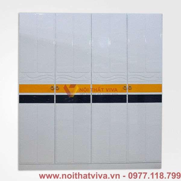 Tủ áo MDF màu trắng hoa văn hiện đại đẹp giá rẻ