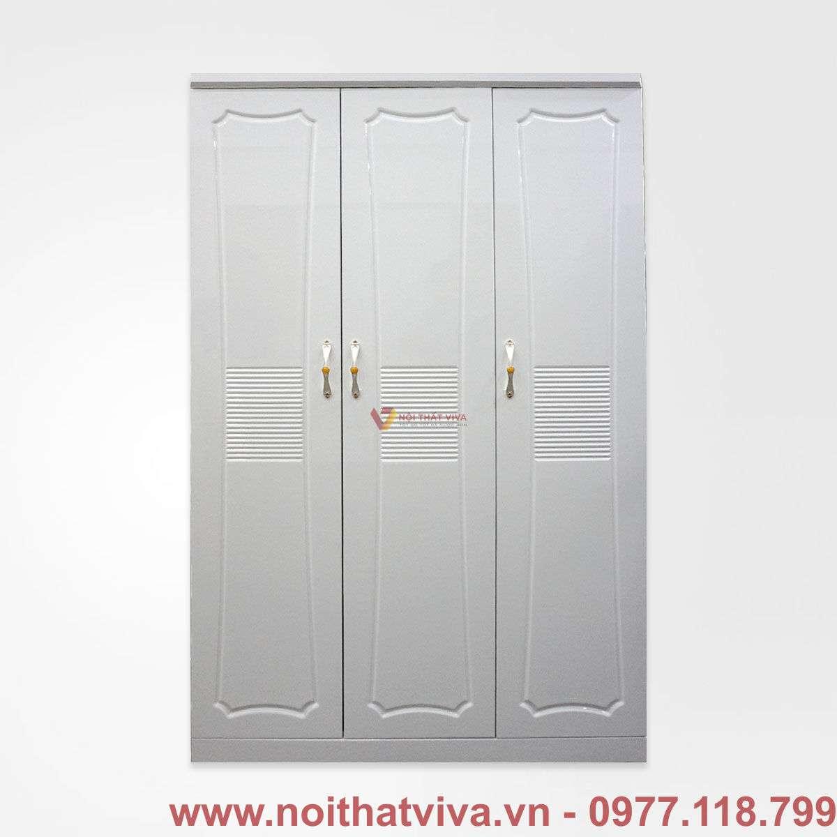 Tủ áo mdf sơn trắng 2k 3 cánh