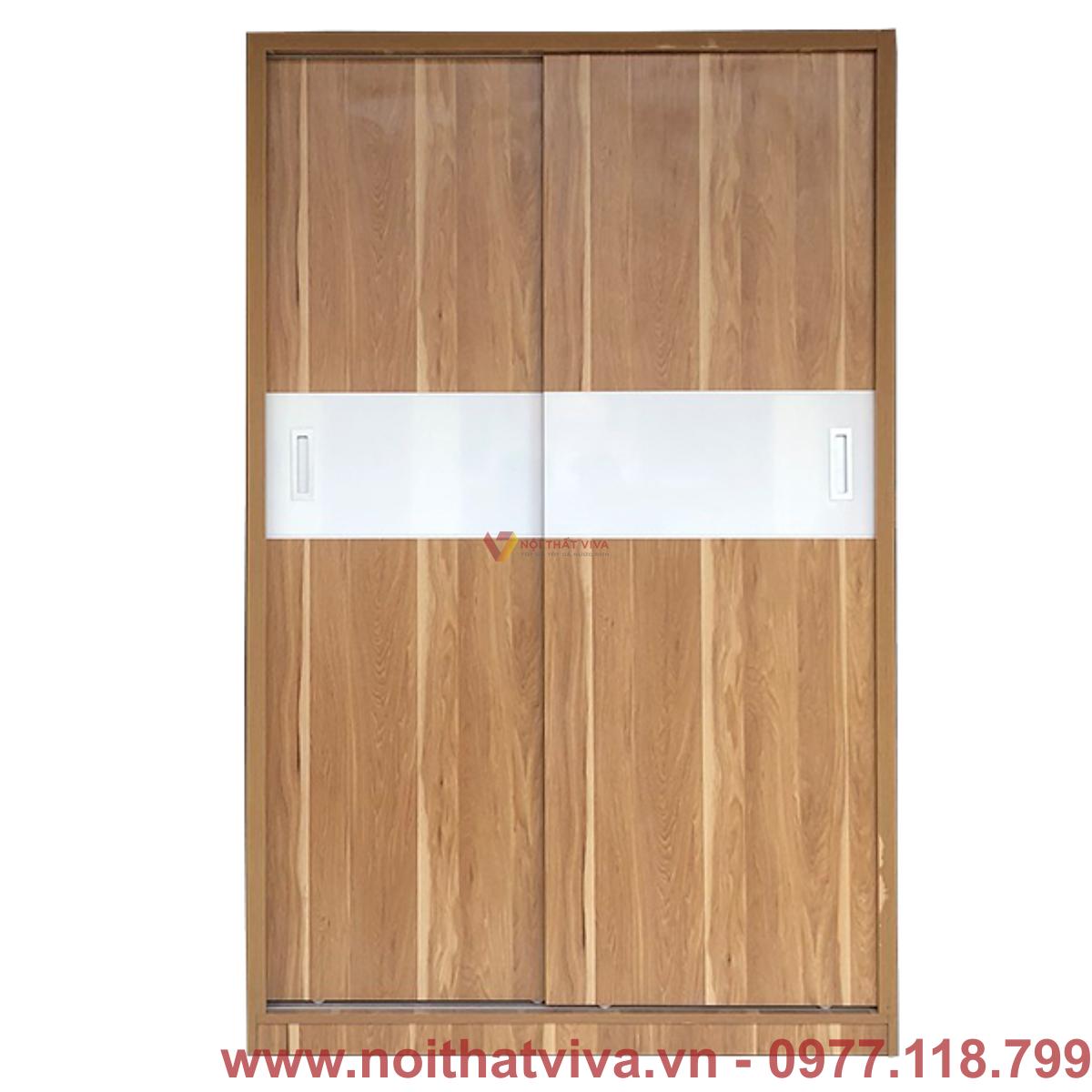 Tủ Áo Cửa Lùa 1m2 Gỗ MDF Melamine Màu Vân Vàng Sọc Trắng