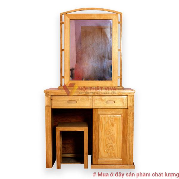 Bàn Trang Điểm gỗ Sồi Đẹp Gương Vuông
